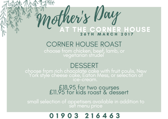 mother's day menu in Worthing